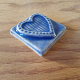 "Striped Heart 2""x2"" Ceramic Handmade Tile - Watercolor Blue Glaze Edge Shot"