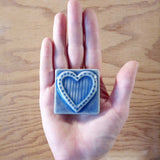 "Striped Heart 2""x2"" Ceramic Handmade Tile - Watercolor Blue Glaze Size Reference"