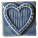 "Striped Heart 2""x2"" Ceramic Handmade Tile - Watercolor Blue Glaze"