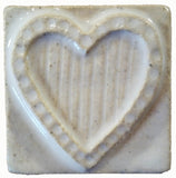 "Striped Heart 2""x2"" Ceramic Handmade Tile - White Glaze"