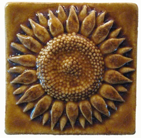 "Sunflower 3""x3"" Ceramic Handmade Tile - Honey Glaze"