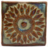 "Sunflower 4""x4"" Ceramic Handmade Tile - Autumn Glaze"