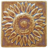 "Sunflower 4""x4"" Ceramic Handmade Tile - Honey Glaze"