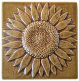 "Sunflower 6""x6"" Ceramic Handmade Tile - Honey Glaze"