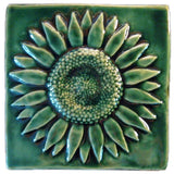 "Sunflower 6""x6"" Ceramic Handmade Tile - Leaf Green Glaze"