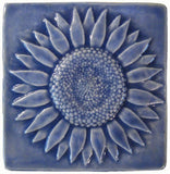"Sunflower 6""x6"" Ceramic Handmade Tile - Watercolor Blue Glaze"