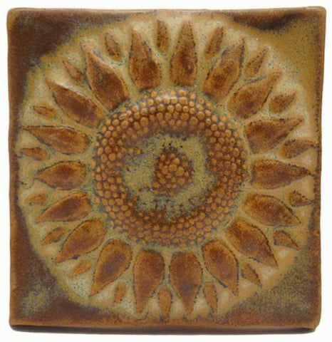 Sunflower 3 Quot X3 Quot Ceramic Handmade Tile Flower Handmade Tiles