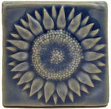 "Sunflower 3""x3"" Ceramic Handmade Tile - Watercolor Blue Glaze"