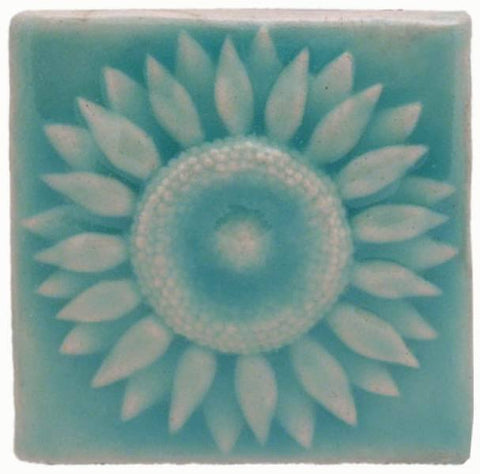 "Sunflower 4""x4"" Ceramic Handmade Tile - Pacific Blue Glaze"