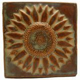 "Sunflower 6""x6"" Ceramic Handmade Tile - Autumn Glaze"