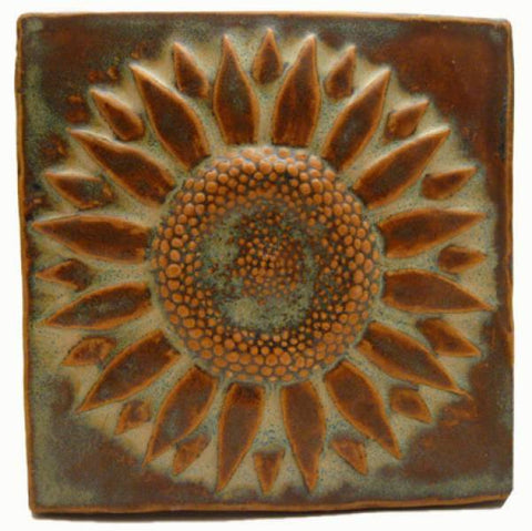 "Sunflower 6""x6"" Ceramic Handmade Tile"