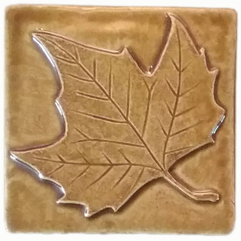 "Sycamore Leaf 4""x4"" Ceramic Handmade Tile - Honey Glaze"