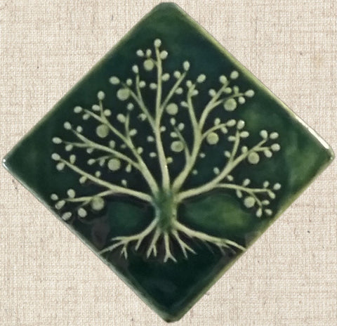"Diagonal Tree Of Life 6""x6"" Ceramic Handmade Tile - Leaf Green Glaze"