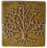 "The Tree Of Life 4""x4"" Ceramic Handmade Tile - Honey Glaze"