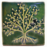 "The Tree Of Life 4""x4"" Ceramic Handmade Tile - Leaf Green Glaze"
