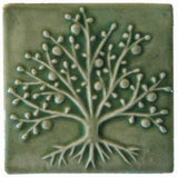 "The Tree Of Life 4""x4"" Ceramic Handmade Tile - Spearmint Glaze"