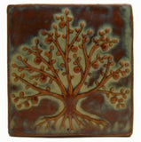 "Tree Of Life 6""x6"" Ceramic Handmade Tile - Autumn Glaze"
