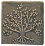 "Tree Of Life 6""x6"" Ceramic Handmade Tile - Gray Glaze"