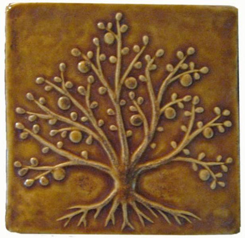 "Tree Of Life 6""x6"" Ceramic Handmade Tile - Honey Glaze"