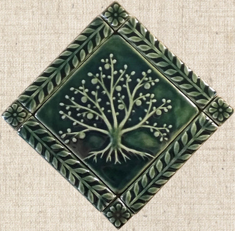 "6""x6"" Tree of Life Ceramic Handmade Tiles With 1"" Border - Leaf Green Glaze"