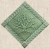 "6""x6"" Tree of Life Ceramic Handmade Tiles With 1"" Border - spearmint Glaze"