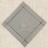 "6""x6"" Tree of Life Ceramic Handmade Tiles With 1"" Border - White Glaze"