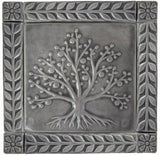"ee of Tree of Life Ceramic Handmade Tiles With 1"" Border -Gray Glaze"