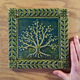 "6""x6"" Tree of Life Ceramic Handmade Tiles With 1"" Border - leaf green glaze size reference"