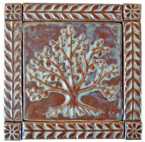 "6""x6"" Tree of Life Ceramic Handmade Tiles With 1"" Border - Autumn Glaze"