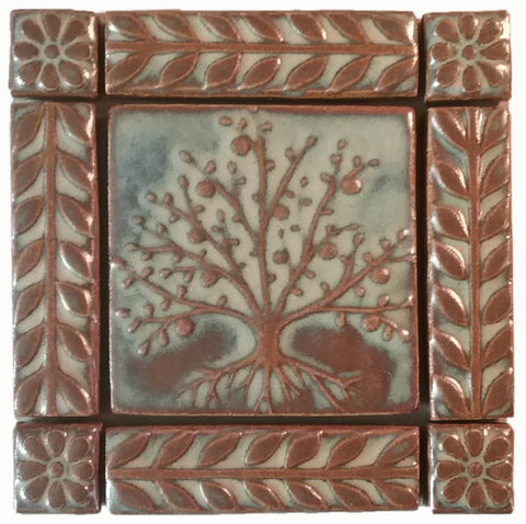"4""x4"" Tree of Life Ceramic Handmade Tiles With 1"" Border - Autumn Glaze"
