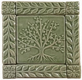 "4""x4"" Tree of Life Ceramic Handmade Tiles With 1"" Border - Spearmint Glaze"