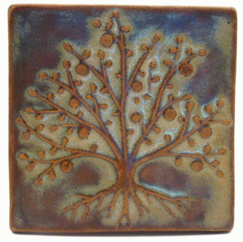 "The Tree Of Life 4""x4"" Ceramic Handmade Tile - Autumn Glaze"