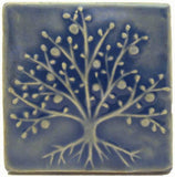 "The Tree Of Life 4""x4"" Ceramic Handmade Tile - Watercolor Blue Glaze"