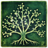 "Tree Of Life 6""x6"" Ceramic Handmade Tile - Leaf Green Glaze"