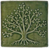 "Tree Of Life 6""x6"" Ceramic Handmade Tile - Spearmint Glaze"