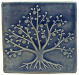 "Tree Of Life 6""x6"" Ceramic Handmade Tile - Watercolor Blue Glaze"