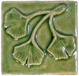 "Triple Ginkgo Leaf 3""x3"" Ceramic Handmade Tile - Spearmint Glaze"