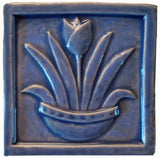 "Tulip 6""x6"" Ceramic Handmade Tile - Watercolor Blue Glaze"