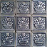 "Tulip 4""x4"" Ceramic Handmade Tiles - Watercolor Blue Glaze Grouping"