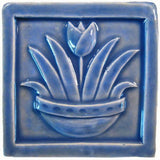 "Tulip 4""x4"" Ceramic Handmade Tile - Watercolor Blue Glaze"