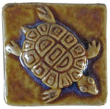 "Turtle 2""x2"" Ceramic Handmade Tile- Honey Glaze"