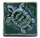 "Turtle 2""x2"" Ceramic Handmade Tile - Leaf Green Glaze"