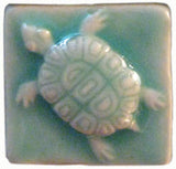 "Turtle 2""x2"" Ceramic Handmade Tile- Pacific Blue Glaze"
