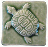 "Turtle 2""x2"" Ceramic Handmade Tile- Spearmint Glaze"