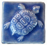 "Turtle 2""x2"" Ceramic Handmade Tile- Watercolor Blue Glaze"
