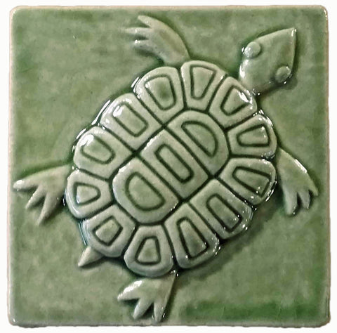 "Turtle 3""x3"" Ceramic Handmade Tile - spearmint glaze"