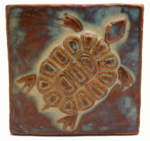 "Turtle 4""x4"" Ceramic Handmade Tile - Autumn Glaze"