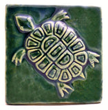 "Turtle 4""x4"" Ceramic Handmade Tile - Leaf Green Glaze"