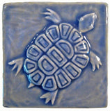 "Turtle 4""x4"" Ceramic Handmade Tile - Watercolor Blue Glaze"