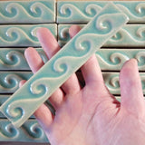 "Wave 1""x6"" Border Ceramic Handmade Tile- Pacific Blue Glaze Size reference"